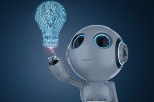 3d rendering mini robot finger point at light bulb